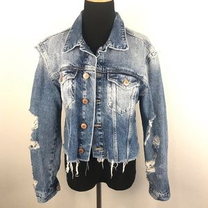Forever 21 Distressed Denim Jacket Size L